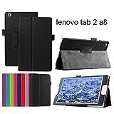 Lenovo tab2 ケース softbank 501LV カバー 3点セット 保護フィルム タッチペン 黒