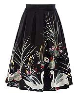 女性のプリーツスカートヴィンテージ膝丈スカート基本エレガントプリントパーティーカクテルスカート女の子ビーチ自由奔放に生きるラインカジュアルな夏のスカート (Color : Schwarz, Size : XL)