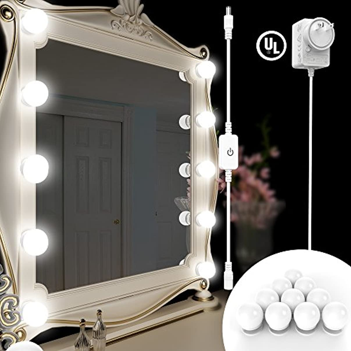縫い目フォーカス旅行BlueFire DIY 化粧鏡 LEDライト 女優ミラーライト ハリウッドライト ドレッサーライト 10個LED電球 明るさ調節可能 全長3.6M 隠し配線 メイクアップミラーライト バニティミラーライトキット