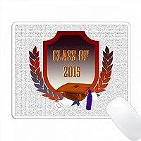 2015年クラスの葉を使った盾のオレンジ色のキャップとディプロマ PC Mouse Pad パソコン マウスパッド