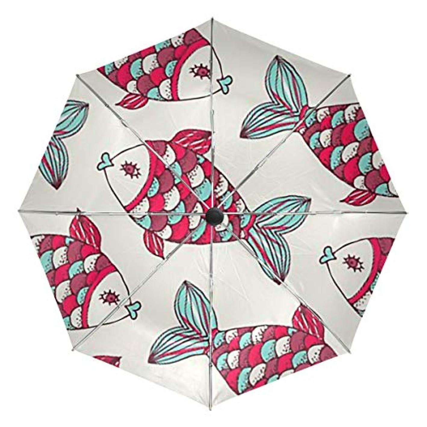 通知するちっちゃいコミュニティ傘 自動傘 丈夫 台風対策 雨傘 日傘 カラフルな魚柄 三つ折り傘 日よけ傘 日焼け止め 折りたたみ傘 UVカット 紫外線カット 自動開閉 晴雨兼用 梅雨対策