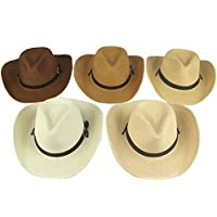 Yosang Adult Straw Cowboy Hat Wide-Brimmed Woven Summer Sun Hat