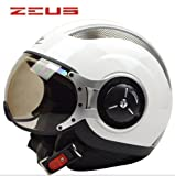 ZEUS 218Cバイクヘルメット ジェットタイプ オープンフェイスヘルメット期間限定、送料無料 男女兼用 メンズ レディース ハーフ パイロット バイクヘルメット シールド付き 安全規格【Mサイズ】ホワイト