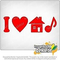 私は家の音楽を愛する I Love House Music 20cm x 5cm 15色 - ネオン+クロム! ステッカービニールオートバイ