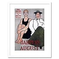 Magazine Cover Harper's August Vintage Framed Wall Art Print 雑誌の表紙カバービンテージ壁