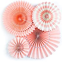Funpa ペーパーファン 結婚式 誕生日 記念日 出産お祝い パーティー 飾りづけ デコレーション 全6色 紙 (ピンク)