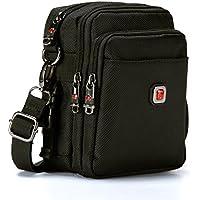 Soperwillton Small Messenger Bag, 1680D Nylon Waterproof Crossbody Bag, With Removable Strap, Black