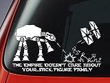 スター・ウォーズ ATATとTIEファイターから着想を得たビニールステッカー 「The Empire Doesnt Care About Your Stick Figure Family」 カーウィンドウ用ステッカー