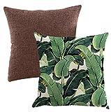 Lipinea クッションカバー 45 * 45 cm ボタニカル 綿麻 グリーン モンステラ 植物柄 無地 セット LC-001 (05.ボタニカル Dセット)