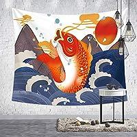 和風タペストリー 鯉魚と赤い日 和柄の壁掛け 浮世絵タペストリー 遮光 目隠し ホワイト 壁飾り 部屋飾り 壁装飾用品 ウォールアート 壁吊り 掛け物 玄関 リビング 寝室 6ツールキット付き (98x73cm,B2-33)