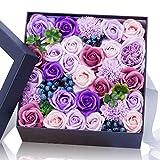 石鹸バラプレゼントボックスは仲間のよい親友に送るだけでなく 引越し 母の日 誕生日バレンタインデー 感謝祭 クリスマスの一番いいプレゼントである 人工バラ(purple) AYOYO