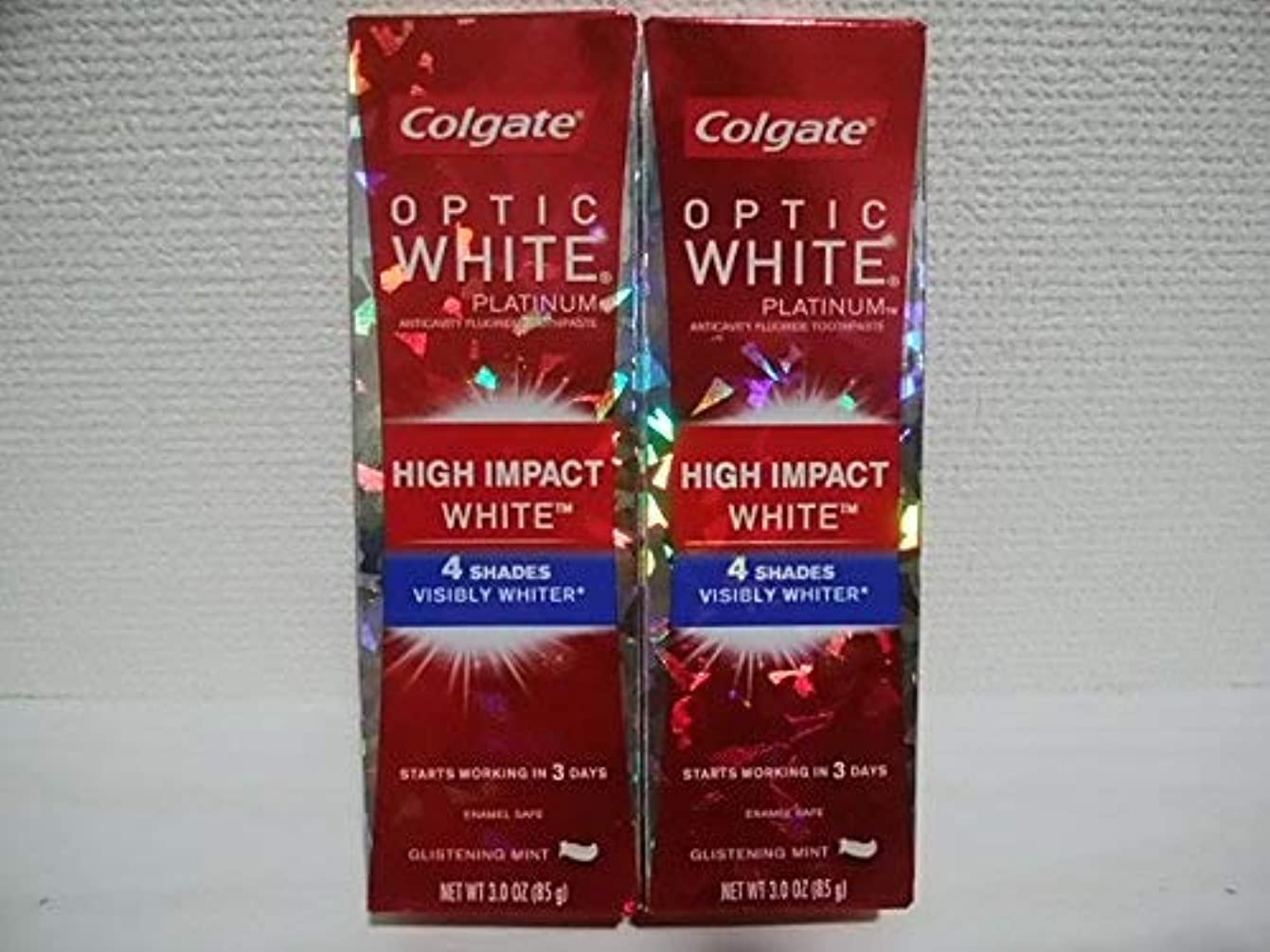 作曲する自己全部Colgate Optic White High Impact White 3oz 85g 歯磨き粉 3個セット [並行輸入品] h%v
