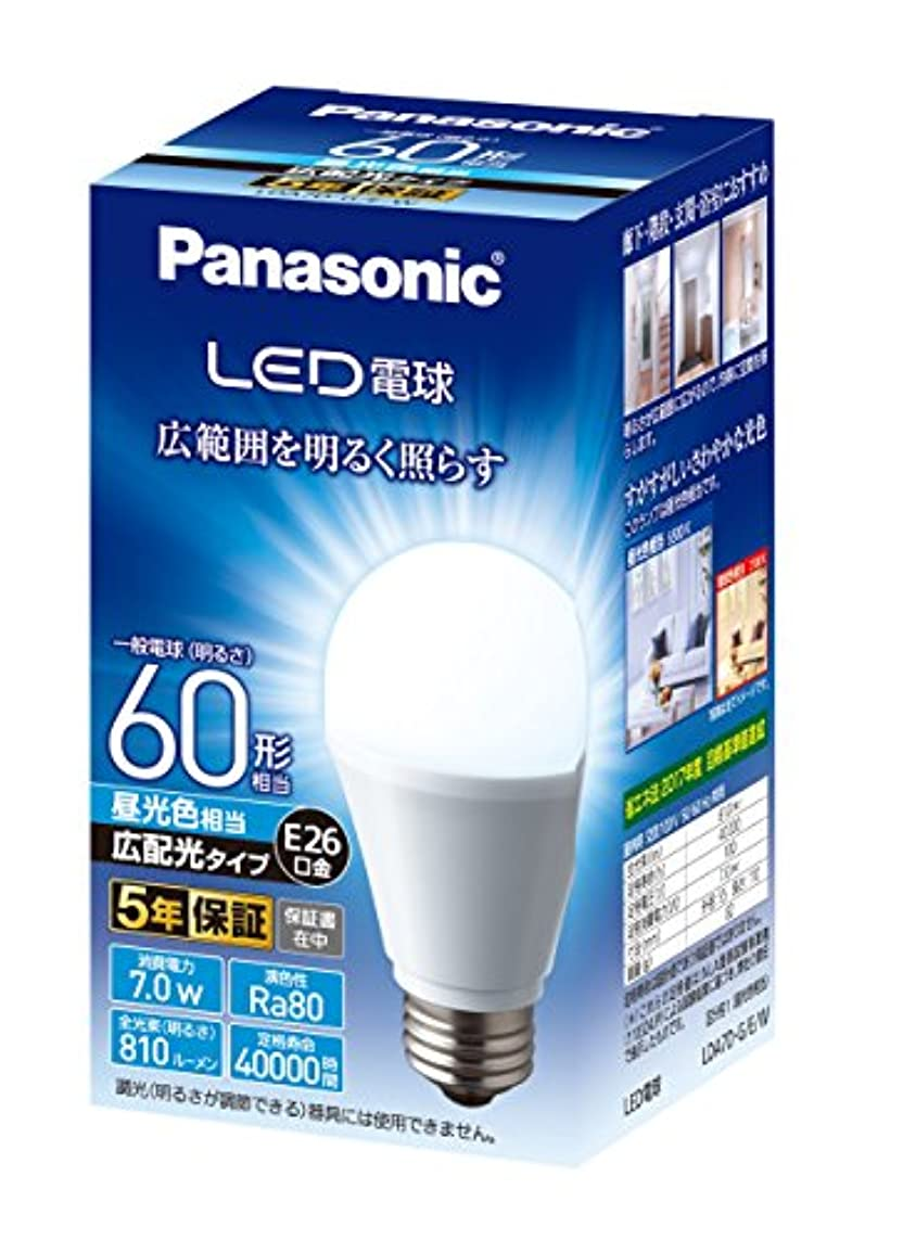 宙返り慰め愚かなパナソニック LED電球 口金直径26mm 電球60W形相当 昼光色相当(7.0W) 一般電球?広配光タイプ 1個入り 密閉形器具対応 LDA7DGEW