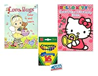 Love Bugs and Hello Kittyピンクカラーリング&アクティビティBooks and 16Crayolaクレヨンボックス( Pack of 3)