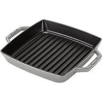[ ストウブ ] Staub グリルパン 23cm ピュアグリル スクエア 12012318/40511-729-0 グラファイトグレー Pure Grill Square Graphite Grey ステーキ バーベキュー BBQ 焼肉 鉄板 [並行輸入品]