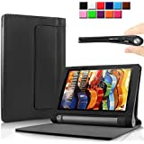Infiland Lenovo YOGA Tablet 3 10.1インチ専用保護ケース カバー 超薄型 超軽型 スタンド機能付き 高級PUレザーケース (YOGA Tablet 3 10, ブラック)