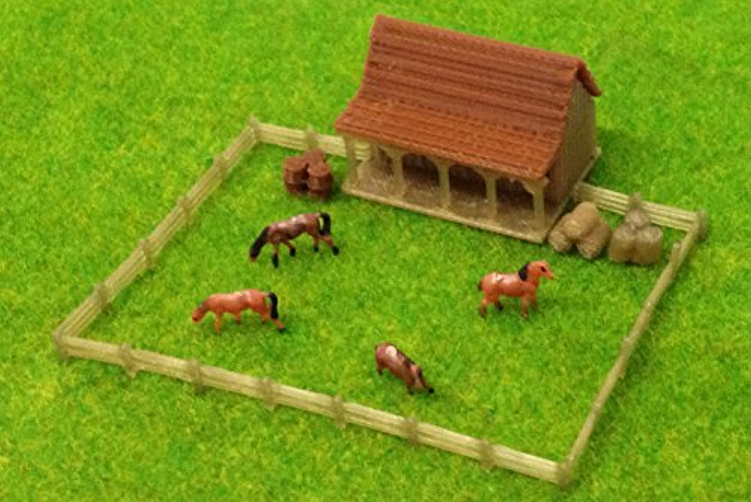 Outland Models Train Railway Layout Country Stable with Horses and Grass Z Scale