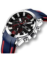 [メガリス]MEGALITH 腕時計 時計メンズ クロノグラフ防水ウオッチ 多針アナログクオーツ腕時計シリコン ルミナス夜光 日付表示 ラグジュアリー おしゃれ ビジネス カジュアル 男性腕時計 ブルー