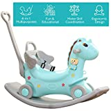 4-in-1 Rocking Horse - Push Glider Pony Rocker Toy - Musical Player Riding Chair - Ride On Rocking Animal - For 1,2,3 year old Boy Girl Child Toddler - Outdoor Indoor Birthday Gift