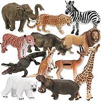 玩具動物セット - プレミアム動物園動物玩具 - 玩具動物フィギュア - リアルで プラスチック製マルチスタイル野生動物置物ギフトセット - 子供とコレクター用(12個セット)