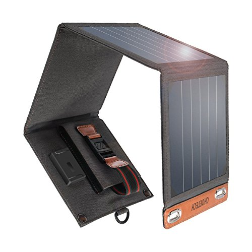 CHOETECH ソーラーチャージャー モバイルバッテリー 14W ソーラーパネル 4枚折畳み式 軽量 コンパクト ポータブル 防水・防塵・耐衝撃 アウトドア、ハイキング、防災に大活躍 スマホ等へ充電