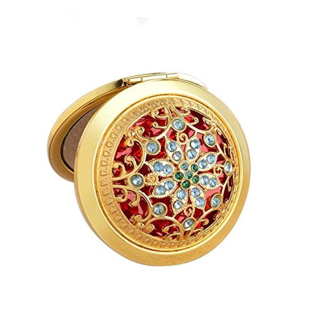 COKOOL 化粧鏡 折りたたみ 両面コンパクト ハンド ミラー 手鏡美しいデザイン (ゴールド)