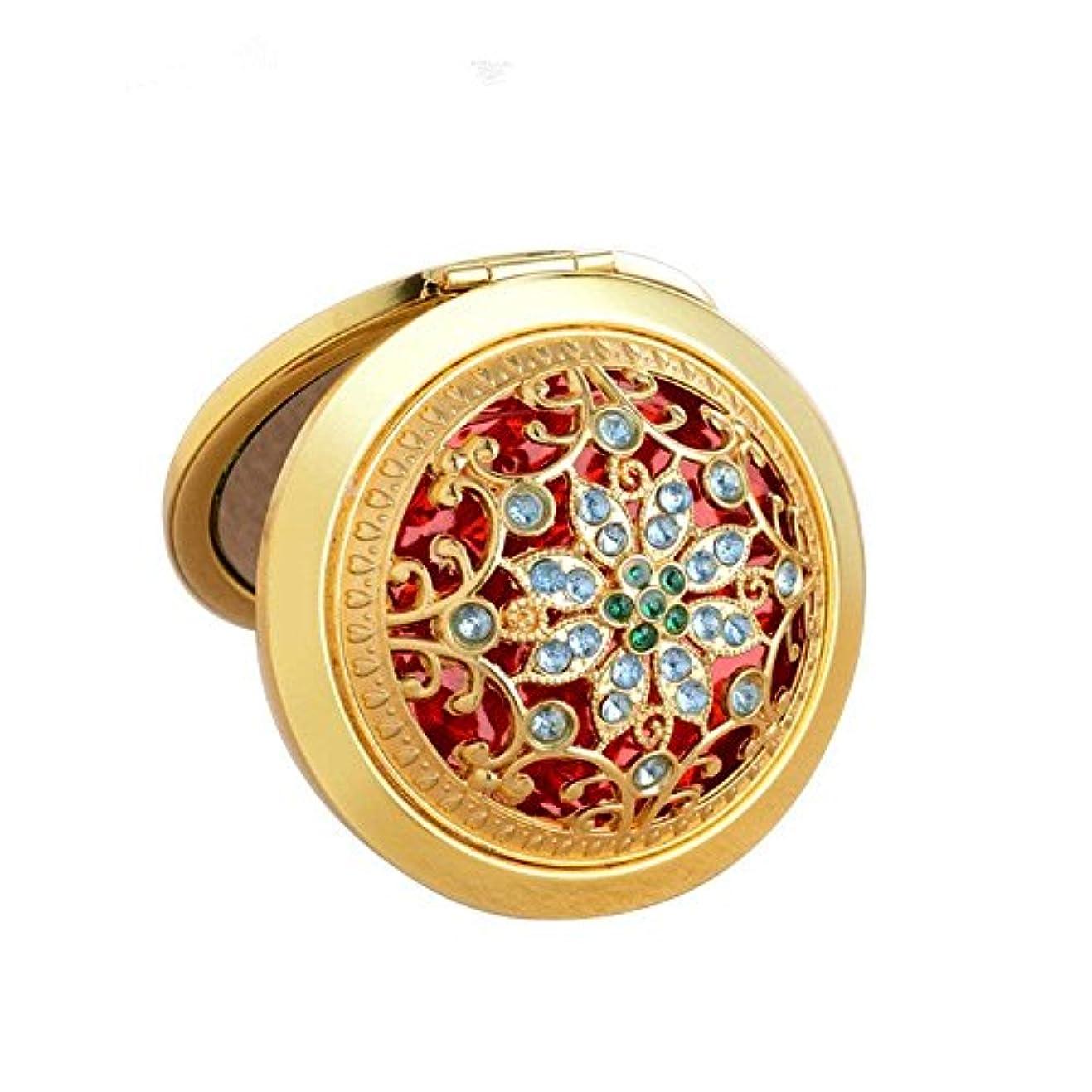 スマッシュ備品盆COKOOL 化粧鏡 折りたたみ 両面コンパクト ハンド ミラー 手鏡美しいデザイン (ゴールド)