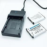 バッテリー2個パックとUSB急速トラベルバッテリー充電器 Pentax Optio RS1000 RS1500 T30 V10 W30デジタルカメラ用