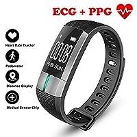 歩数計フィットネストラッカースマートブレスレット ECG & PPG モニタリングリアルタイム心拍数血圧スポーツ用アンドロイド iOS,Black