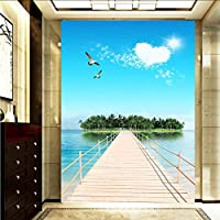 Xbwy カスタム3D写真の壁紙海の景色島の壁の壁画絵画エントランスの背景壁のリビングルームの壁紙風景のための壁-400X280Cm