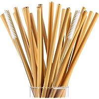 Cikuso 20ピース7.5インチ再利用可能な竹飲みストロープラスチック製キッズストローの代替品、2本ナイロンクリーニングブラシを含める