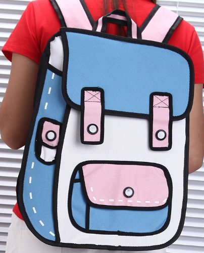 【注目度No.1!!】 二次元リュック 2Dイラストバッグ 不思議なカバン おもしろアイテム♪ (ブルー×ピンク)