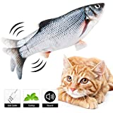 Dearwhite 2020 New Electric Moving Fish Cat Toy, Realistic Plush Simulation Electric Wagging Fish Cat Toy Catnip Kicker Toys, Funny Interactive Pets Pillow Chew Bite Kick Supplies for Cat Kitten Kitty