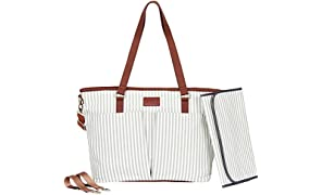 Diaper Bag by Hip Cub - Designer Messenger - W/Stylish Stripe Baby Changing Pad - Grey
