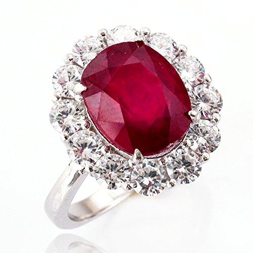 【鑑別書付】 一生物 超大粒 5ct ルビー リング 指輪 K18GP 宝石の女王 7月誕生石 (11号)