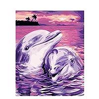 LovetheFamily 数字油絵 数字キット塗り絵 手塗り DIY絵 デジタル油絵 イルカはお互いを愛している 40x50cm ホーム オフィス装飾