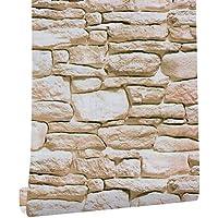 HaokHome H1079 DIY レンガ タイル 石の壁紙 ブラウン カーキ 壁用 簡単 モダン風 はがせる ストーン 3D 屋内 ベッドルーム装飾 45cm×3m