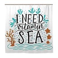 MISCERY シャワーカーテン、サンゴの波で描かれた手描きのインスピレーションを引用するビタミン海が必要ですヒトデの泡、防水 バスカーテン 浴室洗面所 間仕切り プ取付簡単 180x180CM さまざまなパターン