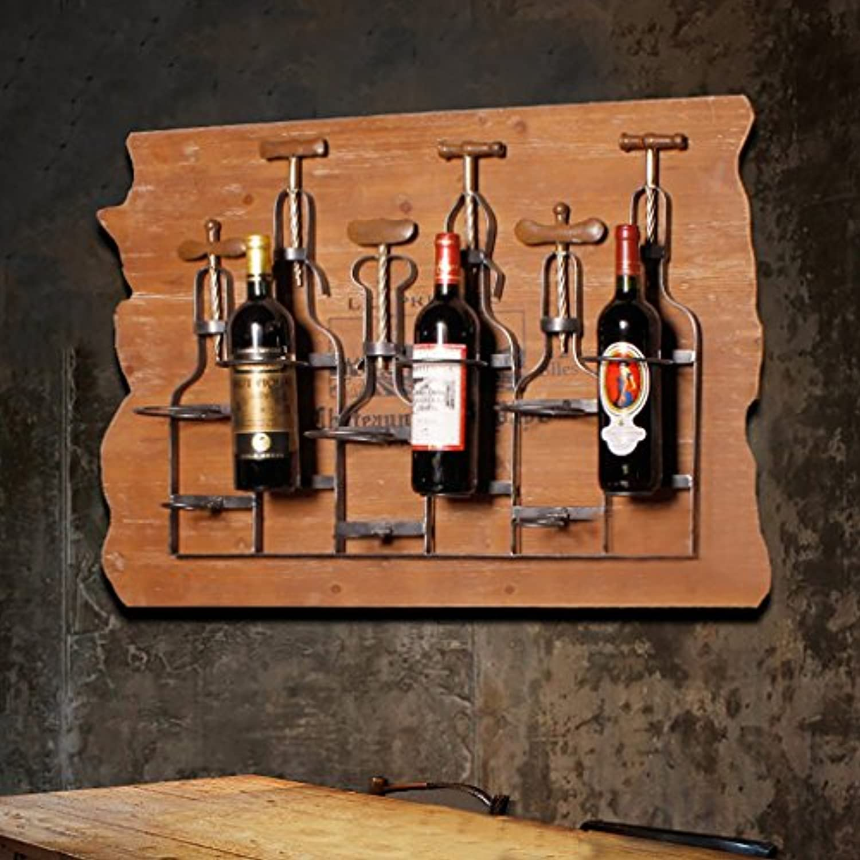 ワインホルダー ワインラックアイアンワインバーウォールステッカーバーワイントレークリエイティブレストランワインラック壁装飾ラックワインホルダー ワインラック
