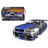 Jada 映画「ワイルドスピード」 ブライアン スカイラインGT-R R34 1:24スケール  / Fast & Furious Brian's Nissan Skyline GT-R R34 Silver Blue [並行輸入品]