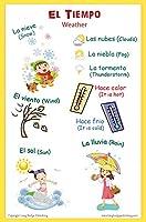 スペイン語言語学校ポスター–Wordsについての天気–壁チャートのホームと教室–Bilingual :スペイン語と英語テキスト