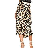 Leorealko Skirts Knee Length Women Leopard Print Skirts High Waist Bodycon Slim Fit Midi Skirts for Summer