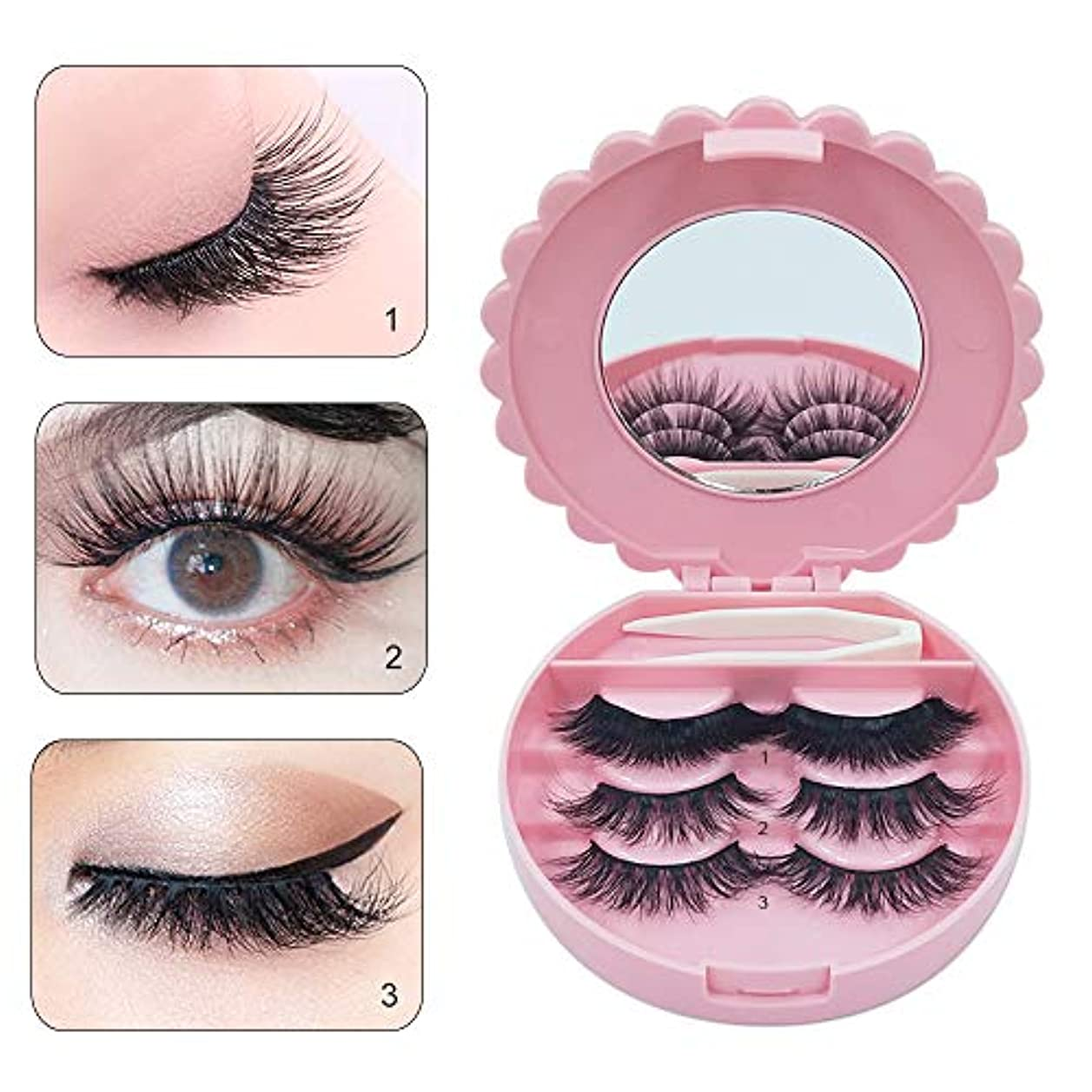 つけまつげ Eyelashes ミンク 濃密 ナチュラル 日常 パーティー用 3ペア 長持ち 3 dミンクつけまつ毛 ふんわりロングまつ毛 (3 pair)