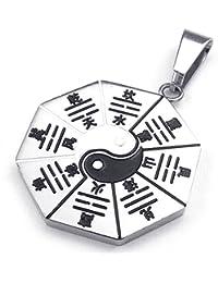[テメゴ ジュエリー]TEMEGO Jewelry メンズステンレススチールヴィンテージペンダントゴシックノシベ島地図ネックレス、ブラックシルバー[インポート]