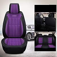Fanchao レザーシートカバー、シートプロテクターカーマットカバー、ほとんどの車両にフィット、車、セダン、トラック、SUV、バン (色 : 紫の)