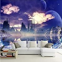 Lcymt カスタムウォール壁画絵画城で空写真背景壁紙用リビングルーム3Dウォール壁画壁紙家の装飾-200X140Cm