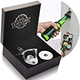 Bottle Opener Wall Mounted with Magnetic Cap Catcher - Stainless Steel - by CAPLORD, Easy to Mount, Cool Gift for Beer Lovers, Funny Housewarming Present Ideas, Novelty Man Birthday Gifts for Men and Women