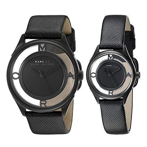 [マークバイマークジェイコブス]Marc by Marc Jacobs メンズ レディース ペアウォッチ ティザー 36mm 25mm ブラック レザー ブラックケース MBM1379MBM1384 腕時計 [並行輸入品]