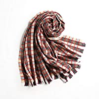 XY スカーフ - ヨーロッパとアメリカの女性の色の格子縞のスカーフカラーグリッドタッセル織り模倣のカシミヤビブショールデュアルユースカジュアルワイルド(マルチカラーチョイス) スカーフ (色 : D)