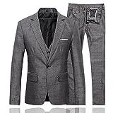 CEEN ビジネススーツ フォーマル メンズ シングル 一つボタン 礼服 スタイリッシュ スリーピース メンズ チェック柄 スーツ3セット 通勤仕様 紳士服 カジュアル 結婚式スーツ